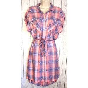 🔷BOGO🔷🆕 Gap pink plaid high low mini dress